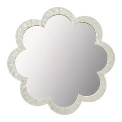 KOUBOO - Flower Capiz Seashell Wall Mirror, Natural White - Diameter 30 inches x 2 inches deep.