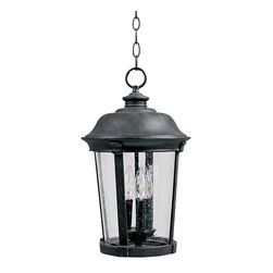 """Maxim - Iron Maxim Dover 24"""" High Black Outdoor Hanging Lantern - Like the prized find in a salvage yard this classically inspired outdoor hanging lantern combines Victorian scrolls and accents with a definitively contemporary feel for a flawless feel. With a country forge iron finish basket weave accents and seedy glass its a true must have for any vintage enthusiast. Hard wired with a chain hanger. Rated for wet spaces. Seedy glass panels. Country forge black finish. Scottsdale Collection outdoor hanging lantern. By Maxim Lighting. Rated for wet locations. Requires three 60 watt incandescent candelabra base bulbs (not included). Fixture is dimmable with a standard dimmer. Includes 144"""" of wire length and 72"""" of chain length. 24"""" high. 13 1/2"""" wide.   Seedy glass panels.  Country forge black finish.  Dover Collection outdoor hanging lantern.  By Maxim Lighting.  Damp location rated only.  Requires three 60 watt incandescent candelabra base bulbs (not included).  Fixture is dimmable with a standard dimmer.  Includes 144"""" of wire length and 72"""" of chain length.  24"""" high.  13 1/2"""" wide."""