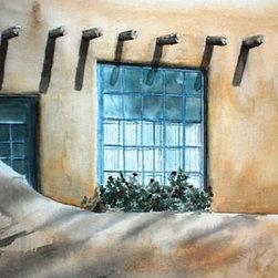 Garden Window - Original Watercolor Painting - Window looking into the garden of a classic Santa Fe adobe.