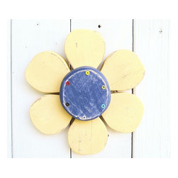 Souvenir Farm, Ltd. - Shabby Chic Wood Flower-Cottage Chic Wall Decor - Wood Wall Art Flower, Indigo B - With chunky rounded petals, this shabby chic wood flower may be petite, but it packs a lot of color.