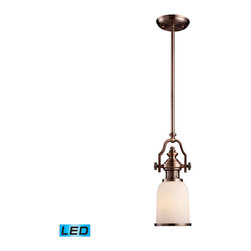 Landmark Lighting - Landmark Lighting Chadwick 66142-1-LED 1-Light Pendant in Antique Copper - LED O - 66142-1-LED 1-Light Pendant in Antique Copper - LED Offering Up To 800 Lumens belongs to Chadwick Collection by Landmark Lighting The Chadwick Collection Reflects The Beauty Of Hand-Turned Craftsmanship Inspired By Early 20Th Century Lighting And Antiques That Have Surpassed The Test Of Time. This Robust Collection Features Detailing Appropriate For Classic Or Transitional decors. White Glass Compliments The Various Finish Options Including Polished Nickel, Satin Nickel, And Antique Copper. Amber Glass Enriches The OiLED Bronze Finish. - LED Offering Up To 800 Lumens (60 Watt Equivalent) With Full Range Dimming. Includes An Easily Replaceable LED Bulb (120V). Pendant (1)