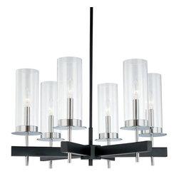 Sonneman Lighting - Sonneman Lighting 4066.54 Tuxedo 6-Light Round Chandelier In Polished Chrome and - Sonneman Lighting 4066.54 Tuxedo 6-Light Round Chandelier In Polished Chrome And Black