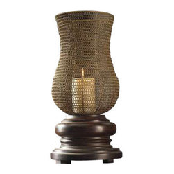 Uttermost Rickma Distressed Candleholder - Heavily distressed chestnut brown base with a woven metal globe finished in antiqued gold leaf. Distressed beige candle included. This statuesque candleholder features a heavily distressed, chestnut brown base with a woven metal globe finished in antiqued gold leaf. Distressed beige candle included.