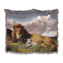 n/a - Woven Tapestry Lion and Lamb Cotton Throw Blanket 50 in. X 60 in. - This beautiful woven tapestry blanket adds an inspirational accent to your bed, chair, or couch. It is the perfect weight for snuggling up to read a good book or to watch TV. It measures 50 inches wide, 60 inches long, and features an image of a lion and a lamb, with `May God`s Perfect Peace Bless Our World` across the top. The blanket is 100% cotton and recommended care instructions are to machine wash in cold water in a gentle cycle with mild detergent, and tumble dry. Made in the USA.