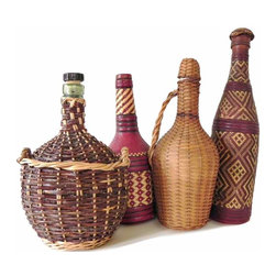 French Four Demijohns - One currated collection of four wine demijohns, thier intricate pattern of contrasting wicker and rattan makes this collection unusual.
