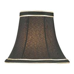 "Lite Source - Black w/ Gold Candelabra Shade 3"" Top x 6"" - A beautiful black candelabra shade with gold striped trim."