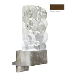 Fine Art Lamps - Crystal Bakehouse River Stone Sconce, 825250-14ST - Indoor only, art-glass sconce in bronze finish with handcrafted, polished block of crystal river stones. This fixture is photographed with a bright white GU24 4100K CFL bulb (USA). For export, we recommend a 13W threaded CFL. 13 watt CFL Mini Spiral bulb, GU 24 base light bulb. UL Listed, thermoplastic socket. Bulb(s) not included.