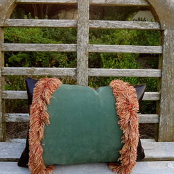 """Petra&Jules Embellished Wear Pillows - Scrumptious green suede  and chocolate leather is embellished in apricot fringe  and backed in a paisley fabric. Pillow measures 10""""X14"""" with zipper closure. Pillow form included."""