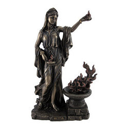 Greek Goddess Hestia Bronzed Statue Roman Vesta - Hestia, the virgin Greek goddess of the hearth and home, will bring blessings upon your domestic life. In this wonderfully detailed figure, the household goddess stands modestly enrobed holding the eternal flame of the hearth. Accented with copper red strands, the torch by which she stands and the flames she holds lick the air with vibrant vitality without the risk of ever dying out. The cold cast resin figure has a striking bronzed finish and stands 11 inches tall, 7 inches wide, and 3 1/2 inches deep. Hestia`s resemblance would make an elegant accent in any room, especially one with a fireplace.