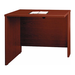 Bush Business - 36 in. Desk Return Bridge in Mahogany - Serie - The attractive Mahogany 36 inch Desk Return Bridge mounts to any desk as a right or left return and features durable PVC edge banding to protect against accidental bumps.  The return provides a modesty panel grommet for concealed wire access. * Durable PVC edge banding protects desk from bumps and collisions. Mounts to any desk as right or left return. Modesty panel grommet allows wire access and concealment. Accepts Keyboard Shelf or Pencil Drawer. Durable melamine surface resists scratches and stains. 35.433 in. W x 23.346 in. D x 29.842 in. H