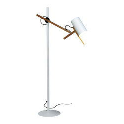 Marset - Scantling Floor Lamp - Scantling Floor Lamp from Marset  designed by Mathia Hahn The Scantling Floor Lamp brilliantly combines shapes and materials to offer one superb lighting fixture. The wooden arm gives the Scantling Light a subdued appearance and contrasts beautifully with the iron stem and base. The cylindrical diffuser likewise offers an eye-catching contrast to the linear stand and arm. With hinges at each joint, the Scantling Light from Marset can be easily adjusted to provide optimal lighting as your needs change. Minimal yet thoroughly modern, the Scantling Lamp is sure to provide beauty and light to your any space.   The Scantling Floor Lamp features: Available in 2 different sizes Lacquered iron stem and base Solid oak arm Lacquered aluminum shade Switch built into diffuser Requires E26 CFL Type T, 20 watt bulb