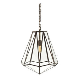 Arteriors Home - Arteriors Home Edmond Brass/Glass Hexagon Pendant - Arteriors Home 46361 - Arteriors Home 46361 - The Edmond Pendant from Arteriors features a unique hexagonal shape. The antique brass finish allows this stunning pendant light to accommodate both modern and traditional spaces. Use an antique light bulb to create a vintage feel or a white globe bulb to receive maximum illumination without the glare. Perfect for commercial or residential interiors.