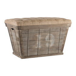Kathy Kuo Home - French Country White Lettering Long Storage Crate Burlap Ottoman - This rectangular storage crate has a tapered silhouette and a tufted cushion with white hand stenciled numbers. You will receive a number chosen at random.