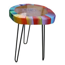 Modern Slice - Fahrenheit, A Mid Century Design with Wood and Hairpin Legs - This hot little number is a study in color.  Cool colors move in and out amongst those hot juicy hues of summer!  We love just looking at how they play off of each other. This is a beautiful piece of wood whose rings have been highlighted even further by the artwork.