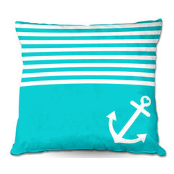DiaNoche Designs - Pillow Linen by Organic Saturation - Teal Love Anchor Nautical - DiaNoche Designs works with artists from around the world to create astouding and unique home decor products.  Add a little texture and style to your decor with our Woven Linen throw pillows.  The material has a smooth boxy weave.  Each pillow is machine loomed, then printed and sewn ALL IN THE USA!!!  100% smooth poly with cushy supportive pillow insert with a hidden zip closure. Dye Sublimation printing adheres the ink to the material for long life and durability. Double Sided Print, machine wash upon arrival for maximum softness. Product may vary slightly from image.