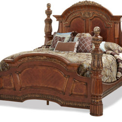 AICO - Villa Valencia Bed Collection by Aico, Eastern King - Collection includes: nightstand, dresser, armoire, dresser mirror with lighting box, gentlemen's chest, and bed of your choice in size.