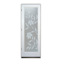 Sans Soucie Art Glass (door frame material Plastpro) - Glass Front Entry Door Sans Soucie Art Glass Hibiscus Private - Sans Soucie Art Glass Front Door with Sandblast Etched Glass Design. Get the privacy you need without blocking light, thru beautiful works of etched glass art by Sans Soucie!  This glass provides 100% obscurity. (Photo is view from outside the home or building.) Door material will be unfinished, ready for paint or stain.  Bronze Sill, Sweep.  Satin Nickel Hinges. Available in other finishes, sizes, swing directions and door materials.  Dual Pane Tempered Safety Glass.  Cleaning is the same as regular clear glass. Use glass cleaner and a soft cloth.