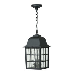 Exteriors - Exteriors Cast Aluminum Grid Cage Outdoor Hanging Light X-50-175Z - This stylish Craftmade cast aluminum Grid Cage outdoor hanging light will look fantastic in any space. It features a cast aluminum frame in a sleek, matte black finish combined with panels of seeded glass. It's a wonderful lighting fixture to hang outdoors because of the durability and minimal maintenance of its beautiful, powder coat finish.