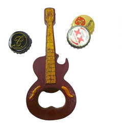 EttansPalace - Rock and Roll Guitar Cast Iron Bottle Opener: Set of Two - Play lead guitar on your favorite beverages as you pop tops with our antique replica bottle opener! Hand-crafted exclusively for using the time-honored sand cast method, this collectible is hand-painted to capture vintage details from strings to frets. A musical gift!