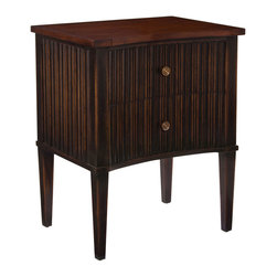 John Richard - John Richard Jura Nightstand EUR-01-0206 - This two drawer concave fronted nightstand has a repeating ogee molding, applied to the front and sides. The top is santos rosewood clear polished, while the cabinet is finished in Burnside sable.