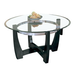 Homelegance - Homelegance Raven Round Cocktail Table in Ebony - Raven collection is sleek contemporary design featuring ebony finish Hardwood table base, metal chrome ring, and beveled glass top.