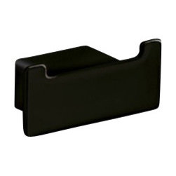 Gedy - Square Matte Black Double Hook - Modern, decorative matte black double robe or towel hook. Made of brass. Double hook made of brass. Available in matte black finish. From the Gedy Lounge collection.