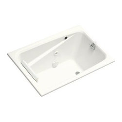 "KOHLER - KOHLER K-1492-H2-0 Greek Whirlpool in White - KOHLER K-1492-H2-0 Greek Whirlpool in WhiteThe Greek whirlpool features a space-saving design while its extra-deep bath basin permits a full soaking experience. A variable-speed pump with 18 settings powers four Flexjet(TM) whirlpool jets that provide an individually adjustable hydro-massage for those aching muscles, and an in-line, 1.5-kW heater keeps the water at your desired temperature. A white vinyl Repose bath pillow is included for extra comfort. Intended for drop-in installations, this model is constructed of durable, high-gloss acrylic, ensuring years of reliable use.Please see our Delivery Notes for Freight Shipments for products that are oversized and/or are too heavy to ship UPS ground. KOHLER K-1492-H2-0 Greek Whirlpool in White, Features:• 48""L x 32""W x 23-3/8""H"