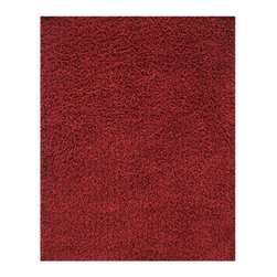 Anji Silky Shag Crimson 8'x10' - Take a few steps on our luxurious bamboo rug, and your feet will sing with joy. Not only are the fibers of this 80% bamboo - 20% cotton rug softer and silkier than wool or synthetic fibers, they are also hypo-allergenic and resist shedding. In addition, only non-toxic Azo-free dyes are used to produce the brilliant colors. Our bamboo rugs are crafted from sustainably-harvested bamboo that grows on a mountain range that is not inhabited by the Giant Panda bear. In addition, the Giant Panda does not eat the species of bamboo used to craft these beautiful rugs, so you can rest assured that these rugs are not only earth-friendly, but also panda-friendly. Rug pad recommended. Available colors: Ivory, Beige, Crimson and Coffee Bean.Available sizes: 3'x 5', 4'x 6', 5'x 8', 8'x 10' and 9'x 12'.