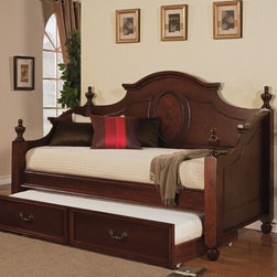 "Acme - 2-Piece Classique Cherry Finish Wood Twin Size Day Bed with Pull Out Trundle Bed - 2-Piece Classique cherry finish wood twin size day bed with pull out trundle bed, with turned finial ends and curved back panel. This set features a decorative back panel with turned finials on the ends and a pull out trundle bed. Measures 83"" x 43"" x 56"" H. Some assembly required."