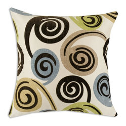 Chooty - Rolo Spa Flocked 17x17 Pillow - This creamy background is a great setting for the super soft swirl encompassed by tans, gray blues, and a fun green. Construction that is both durable and beautiful