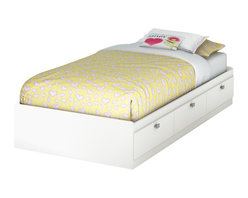 South Shore - South Shore Affinato Twin Mates Storage Bed Frame Only in Pure White Finish - South Shore - Beds - 3260080 - With its pure white finish and sleek contemporary lines the South Shore Affinato Mates Storage Bed will enhance any kids bedroom. Available in Twin size, this bed box features three practical storage drawers with elegant angled handles. Combine it with the optional Affinato Twin Bookcase Headboard for a complete bed. With unparalleled beauty and simplicity the Affinato Mates Storage Bed is the ideal central fixture in your kid's bedroom.