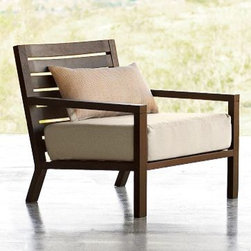 """Tillary Outdoor Lounge Chair - This lounge chair looks great and must be comfortable. I can imagine hours on the porch curled up with a good book. I love the wood finish and big comfy cushions.Dimensions: 29.5""""w x 28""""d x 26""""h."""