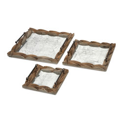 Santiago Wooden Trays - Set of 3 - With galvanized metal framed in tanoak, the Santiago trays are both handsome and functional with a vintage finish and sturdy construction. Whether serving breakfast in bed or displaying under a table top centerpiece, you will love this set of three trays.