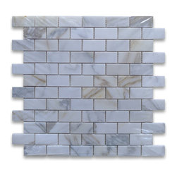 """Stone Center Corp - Calacatta Gold Marble Subway Brick Mosaic Tile 1x2 Polished - Calacatta gold marble 1"""" x 2"""" brick pieces mounted on 12"""" x 12"""" sturdy mesh tile sheet"""