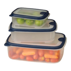 6-piece Plastic Container Set with Rectangular Lids
