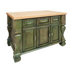 """Antique Green Island with Three Drawers/Cabinets - This island features three drawers and three cabinets on one side and adjustable display shelves on the other.  Drawers are made of dovetailed solid wood and are mounted on full extension slides.  Coordinating decorative hardware is included.  Maple grain butcher block top is 1 ¾"""" thick."""