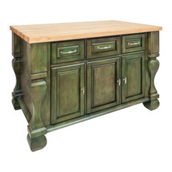 "Antique Green Island with Three Drawers/Cabinets - This island features three drawers and three cabinets on one side and adjustable display shelves on the other.  Drawers are made of dovetailed solid wood and are mounted on full extension slides.  Coordinating decorative hardware is included.  Maple grain butcher block top is 1 ¾"" thick."
