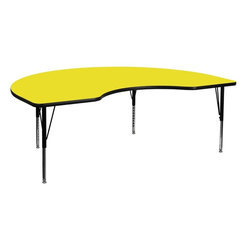 """Flash Furniture - 48''W x 72''L Kidney Shaped Activity Table with Adjustable Pre-School Legs - Flash Furniture's Pre-School XU-A4872-KIDNY-YEL-H-P-GG warp resistant high pressure laminate kidney activity table features a 1.25"""" top and a high pressure laminate work surface. This Kidney Shaped High Pressure Laminate activity table provides an extremely durable (no mar, no burn, no stain) work surface that is versatile enough for everything from computers to projects or group lessons. Sturdy steel legs adjust from 16.25"""" - 25.25"""" high and have a brilliant chrome finish. The 1.25"""" thick particle board top also incorporates a protective underside backing sheet to prevent moisture absorption and warping. T-mold edge banding provides a durable and attractive edging enhancement that is certain to withstand the rigors of any classroom environment. Glides prevent wobbling and will keep your work surface level. This model is featured in a beautiful Yellow finish that will enhance the beauty of any school setting.; Kidney Activity Table; Pre-School Table; Scratch and Stain Resistant Surface; 1.25"""" Thick High Pressure Yellow Laminate Top; 1.25"""" Thick High Pressure Yellow Laminate Top; Black Edge Band; 16 Gauge Tubular Steel Legs; Black Powder Coated Upper Legs and Chrome Lower Legs; Legs Adjust in 1"""" Increments; Self-Leveling Nylon Floor Glides; Recommended Seating Capacity: 8 Children; 2 Year Limited Warranty; View All Sizes and Finishes; Weight: 109 lbs; Overall Dimensions: 48""""W x 72""""D x 16.25"""" - 25.25""""H"""