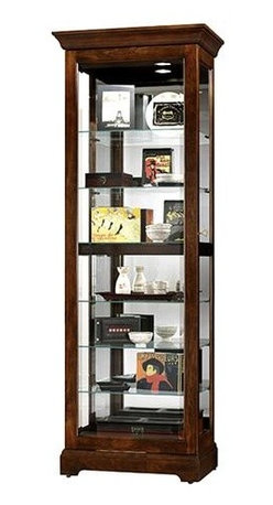 Howard Miller - Curio Cabinet w Sliding Glass Door & Glass Sh - Enhance your home with a brilliant display of your memories, your collectibles, and your prized possessions with the Martindale curio cabinet. It comes with six adjustable glass shelves and a sliding beveled front door. Enjoy it in a Cherry Bordeaux finish. * The front door of this display cabinet slides in both directions for easy access to the shelvesBeveled glass on the front door for added eleganceAmple display space with six glass shelves for seven levels of displayFinished in Cherry Bordeaux on select hardwoods and veneersHalogen lighting for brighter, whiter, longer-lasting light to illuminate your collectiblesAdjustable levelers under each corner provide stability on uneven and carpeted floorsGlass shelves can be adjusted to any level within your cabinetLocking door for added securityGlass mirrored back beautifully showcases your collectiblesPlate grooves in the glass shelves allow for vertical display of your collectible platesNo-ReachT light switch is conveniently located on the back of the cabinet78 in. H x 28 in. W x 17 in. D
