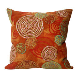 """Trans-Ocean - Graffiti Swirl Red Pillow - 20"""" SQ - The highly detailed painterly effect is achieved by Liora Mannes patented Lamontage process which combines hand crafted art with cutting edge technology.These pillows are made with 100% polyester microfiber for an extra soft hand, and a 100% Polyester Insert.Liora Manne's pillows are suitable for Indoors or Outdoors, are antimicrobial, have a removable cover with a zipper closure for easy-care, and are handwashable."""