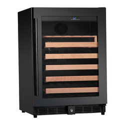KingsBottle - 50 Compressor Single Zone Wine Cooler, Full Glass Finish - This 50 bottle unit is a single zone unit very similar to its double zone sibling with some noted differences. This high end single zone cooler has a full glass door with stainless steel handle to add an air of polish and luxury to this outstanding unit. It is perfect for any wine collector. Beautiful enough to stand alone in your home bar with dignity and pride. This wine cooler is perfect for the person who is as selective with their decor as they are with their wine collection.