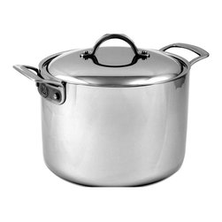 "CIA Masters Collection 8 qt. Stainless Steel Stock Pot & Lid - Orecchiette for eights New Year's Eve lobster boils Handle these types of recipes and many more with the Masters Collection TM 8 Quart Stock Pot. The tall, straight sides concentrate heat and minimize liquid reduction, making it perfect for simmering stocks and soups, and boiling pasta, shellfish and vegetables. The pot is endlessly versatile when you use the Pasta/Colander Insert and the Steamer Insert for vegetables and fish. The Stock Pot features the unique professional 7-ply construction that is both exceedingly beautiful with its stainless steel surface and extremely well designed. Its pure copper and aluminum center delivers superior heat conductivity and cooking control. 7-ply stainless clad construction with a pure copper center for quick and optimum heat distribution Brushed 18/10 stainless steel cooking surface is nonreactive and easy to clean Polished magnetic stainless steel exterior can be used on any cooking surface, including induction Cast stainless steel handles are easy to hold and are riveted for maximum durability Handles have an elegant contrasting brushed/polished finish and a channel for easy gripping Durable stainless steel rivets permanently secure handles to pan 18/10 stainless steel domed lid helps seal in moisture and is marked for easy size identification Lifetime warranty All product sales benefit The Culinary Institute of America Scholarship Fund Material: 7-ply stainless clad construction: 18/10 stainless steel interior, 2 layers of aluminum, pure copper center, 2 layers of aluminum, magnetic stainless steel exterior Size: 8 Quart/9 1/2"" x 6 3/4"" high Cover: 18/10 stainless steel, domed Handles: Cast stainless steel, riveted Oven Use: Up to 500 o Broiler Use: Yes Cleaning: Hand washing recommended Utensils: Metal, nonstick or wood Warranty: Lifetime"