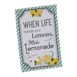 Design Imports - 'Life & Lemons' Printed Dish Towel - Set of Two - Pepper the kitchen with a cheery touch of color by hanging this soft cotton dish towel within close reach of the sink for extra convenience and down-home charm.   Includes two dish towels 18'' W x 28'' H 100% cotton Machine wash; tumble dry Imported