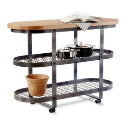 Enclume - Gourmet Kitchen Island with Steel Finish Frame and Wood Top - * A freestanding and movable gourmet island. Makes a striking and lasting addition to any kitchen decor. 21 in. W x 52 in. L x 36 in. H