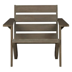 sawyer chair - green adirondack. Iconic lawn element designed by Mark Daniel relaxes eco-friendly in sustainable eucalyptus wood certified by the Forest Stewardship Council (FSC). Comfy low lounge pares down the old glory of summers past with modern angles, horizontal slat back, square arms (great spot to perch a drink) and smooth cool grey wash. Left untreated, wood will weather to a silvery grey. Put your feet up with our optional sawyer ottoman. Learn about the designer, Mark Daniel, on our blog.- Designed by Mark Daniel of Slate Design- Sustainable, FSC-certified solid eucalyptus wood with a grey stain- Left untreated, wood will develop a silvery grey patina- Cover during inclement weather or when not in use- Made in China- See dimensions belowInternet only.