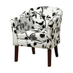 """Coaster - Accent Chair (Black/White Bird Pattern) By Coaster - Covered in a playful bird and branch fabric, this accent chair is not only stylish, but comfortable. Dims: 28"""" X 25.50"""" X 33""""."""