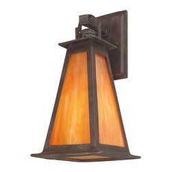 Troy Lighting - Lucerne Outdoor Dark Sky Wall - The Lucerne Outdoor Dark Sky Wall Sconce features a hand-forged iron frame in a statuary bronze finish with an Iridescent honey glass shade. Available in two sizes. Also available in a non-dark Sky version.  Dark Sky Ordinance was developed as outdoor lighting standards that reduce glare, light trespass, and sky glow. One 100 watt, 120 volt A19/Medium Incandescent bulb is required, but not included. Small: 6.5 inch width x 14 inch height. Medium: 8 inch width x 16 inch height.