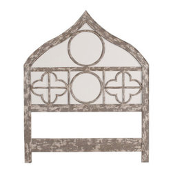 Gothic Upholstered Queen Headboard, Potting Shed Gris - Inspired by Gothic architecture, this would look best in a big, airy room with lots of whites and soft textures.
