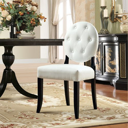 Modway - Modway Button Dining Side Chair - White - EEI-815-WHI - Shop for Dining Chairs from Hayneedle.com! With its round seat back and striking two-tone color combo the Modway Button Dining Side Chair - White is a bold upgrade for your dining room. Modern yet classic this dining chair features an armless design elegant flared legs and a durable birch wood frame finished in deep black. The densely padded seat and round back are upholstered in a contrasting bright white faux leather button tufted for classic charm. About ModwayModway designs and manufactures modern classic furniture pieces for the contemporary home. The quality pieces are fresh and elegant with a distinctively updated appeal. Simple clean lines and a vibrant selection of colors and finishes make these pieces perfect for the home or office. A wide selection of products include pieces for the living room dining room bar office and outdoors. High-quality and innovative designs make Modway the premier company for luxurious modern style.