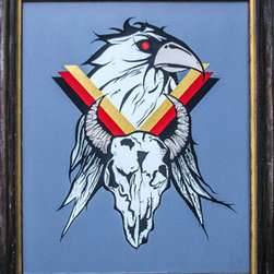 Skull And Eagle  (Original) by Kellie Langewisch - This bold emblem commands attention. The eagle and skull are bound together with colorful geometric lines, creating an symbol of strength. This painting is made on wooden board, with a bordering, built-in, wooden frame.